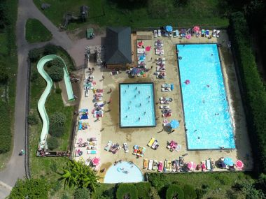 Heated pool and waterslide