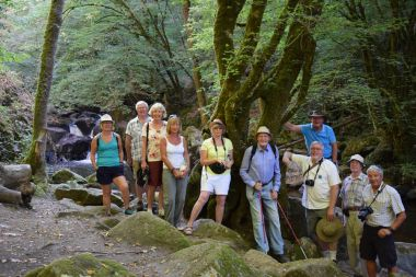 Group hiking to the Saut du Chalard in Champs Romain