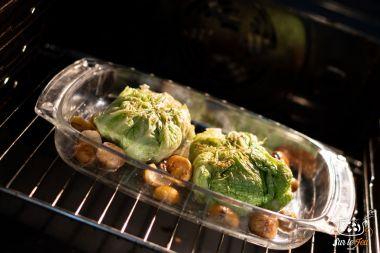 Pannequets met groene kool, foie gras en gekonfijte eendenbout