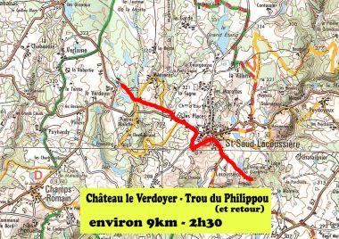 Map hiking Dordogne Saint Saud