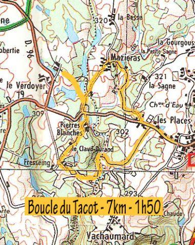 Map hiking old train Saint Saud Champs Romain